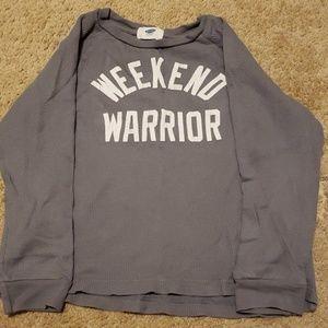 """Boys """"weekend warrior"""" waffle shirt"""